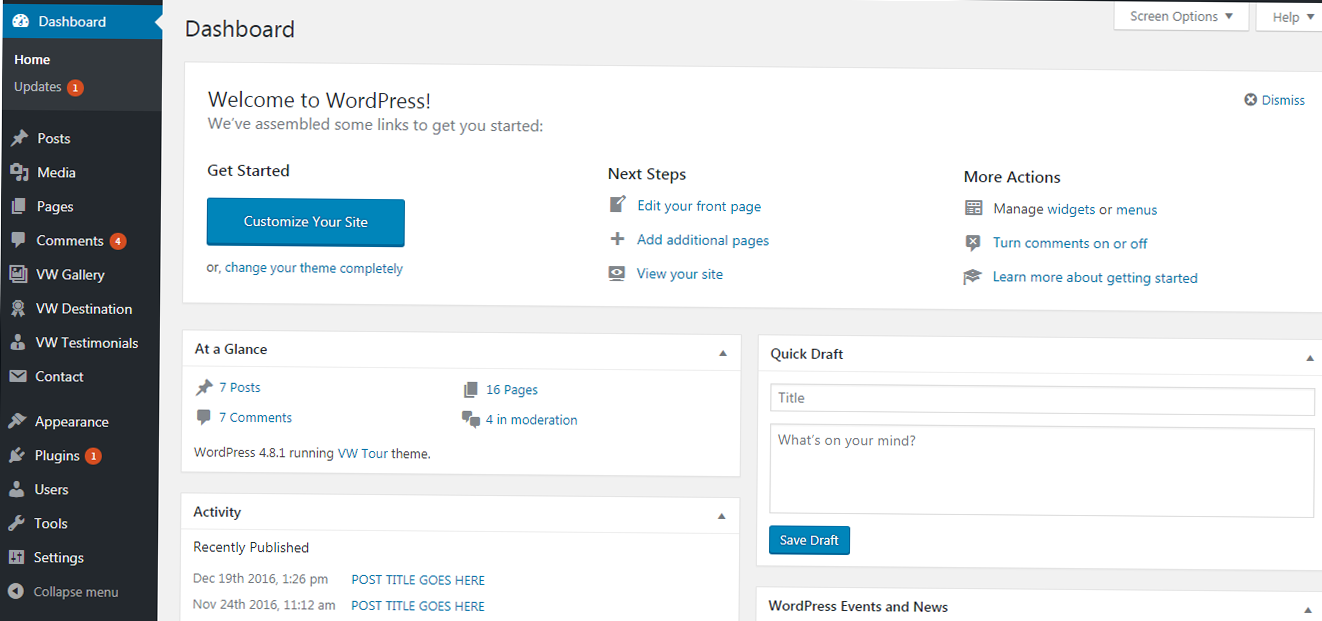 WordPress Back End
