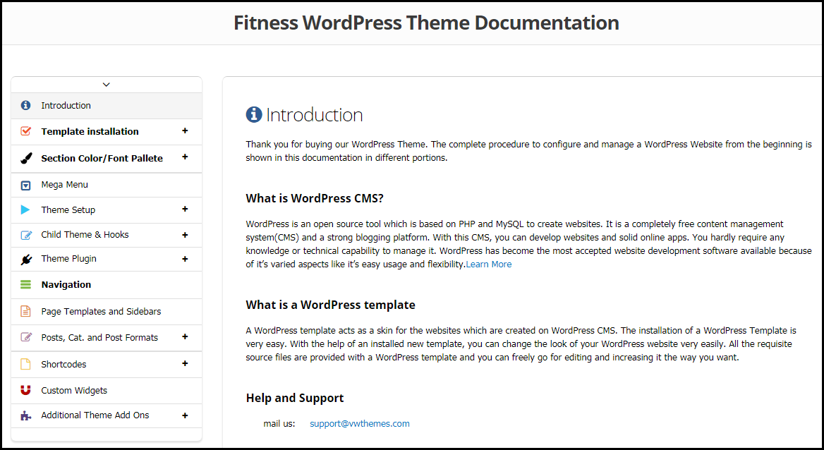 WordPress Theme Documentation