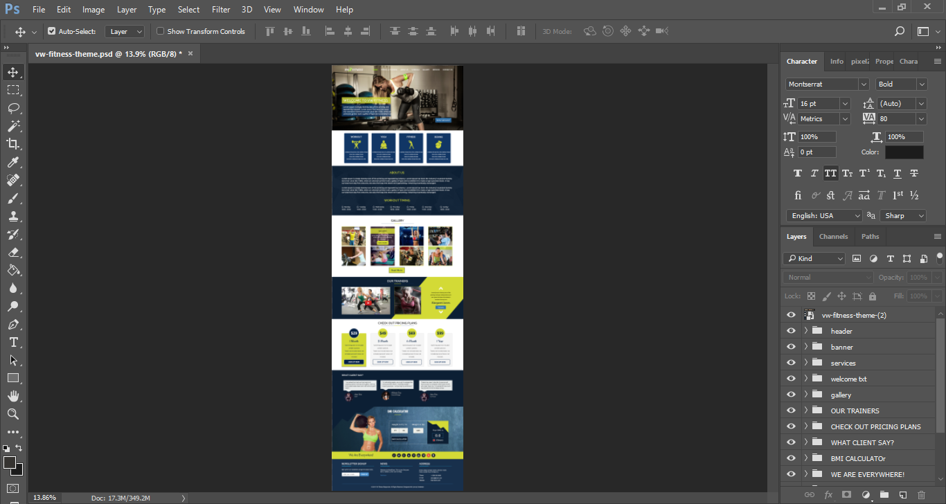 psd file of fitness theme