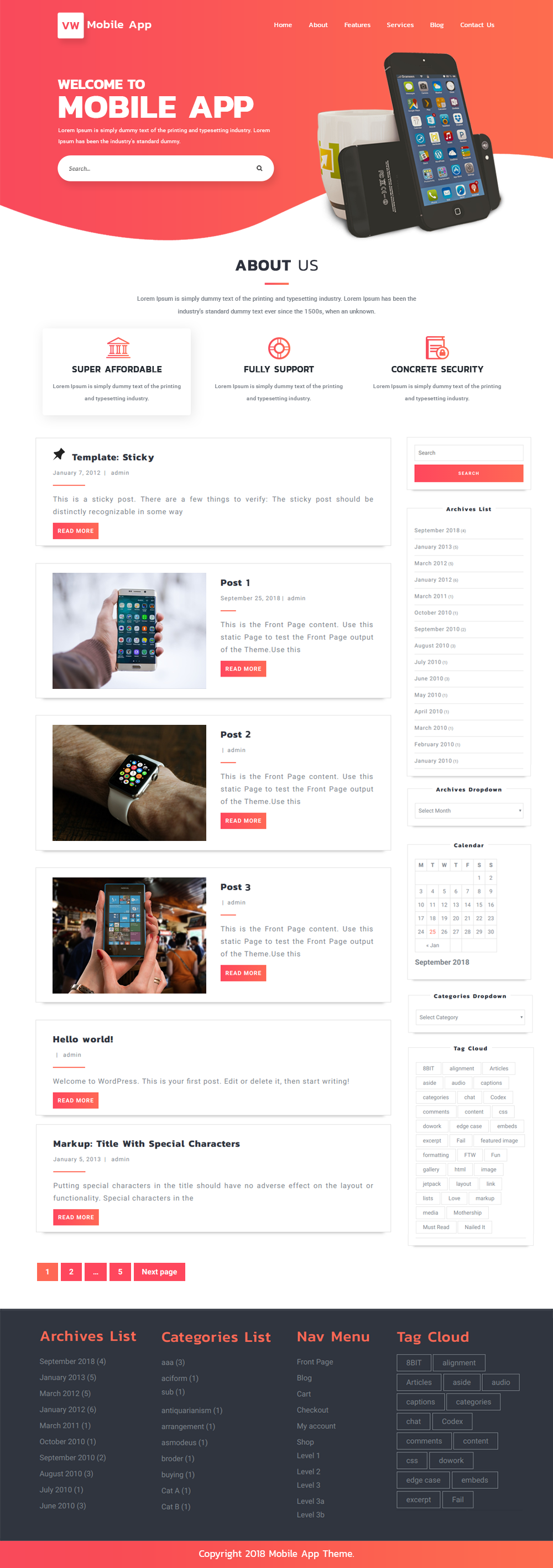 Free WordPress Mobile App Theme