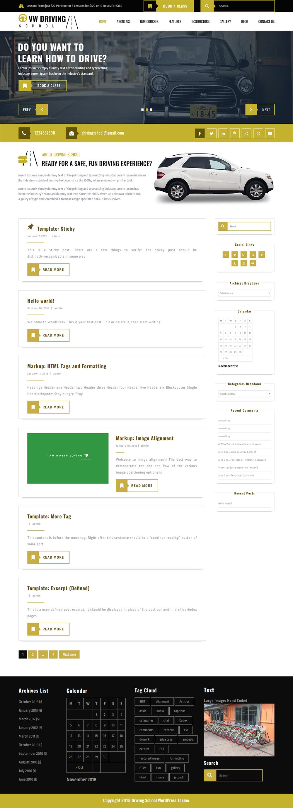 Free Driving School WordPress Theme