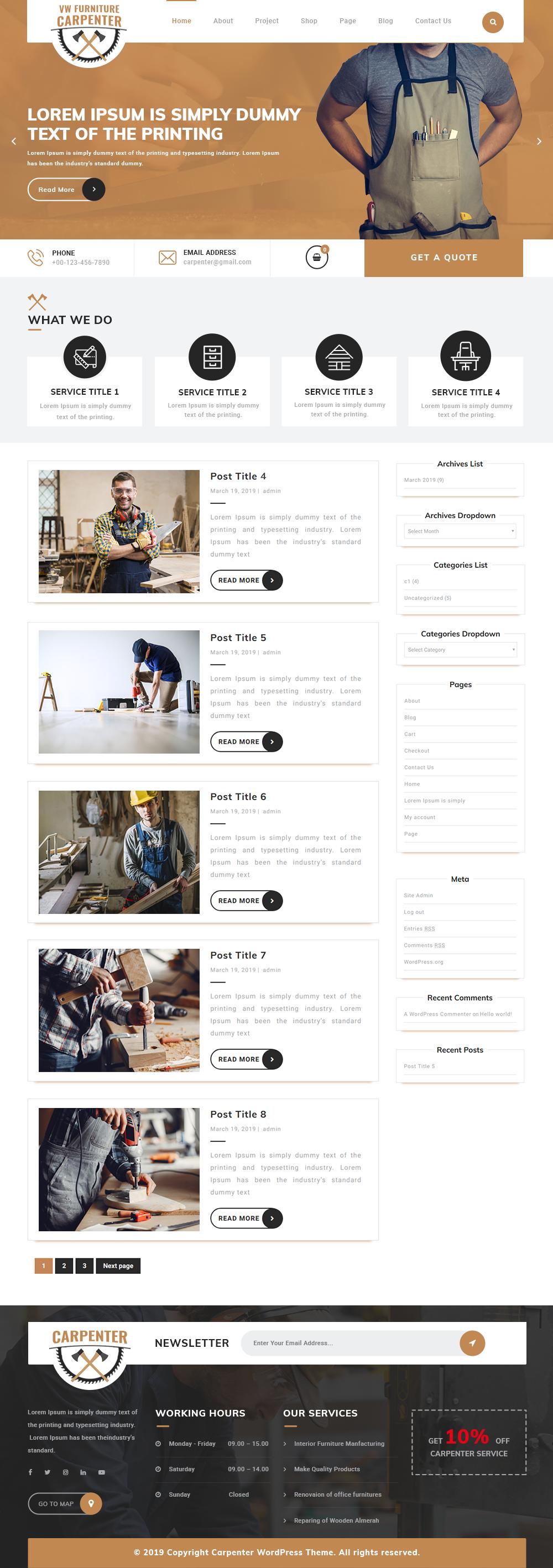 Free Furniture WordPress Theme