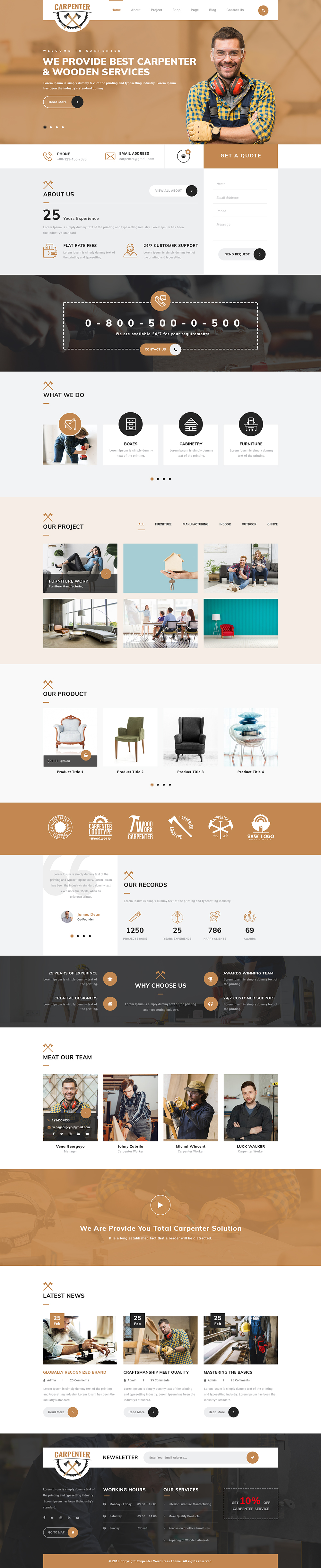Carpenter WordPress Theme for Wood Shops and Carpenters