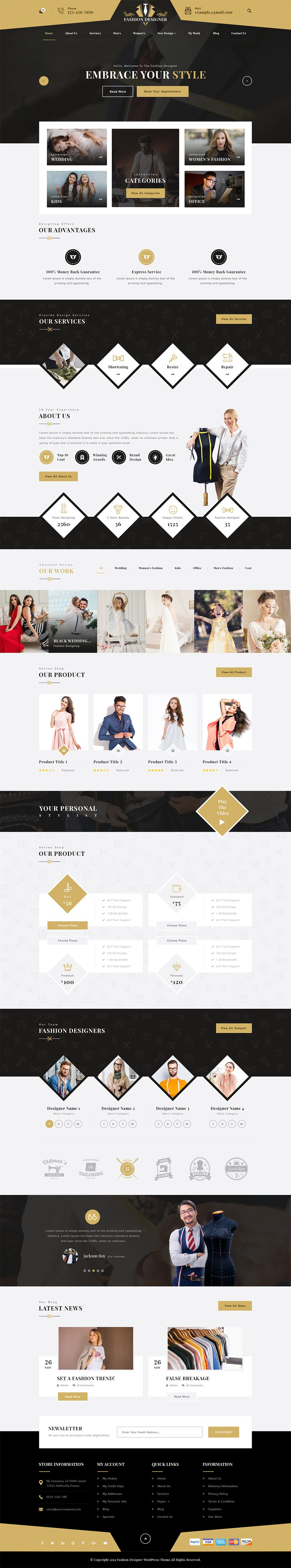 Fashion Designer WordPress Theme