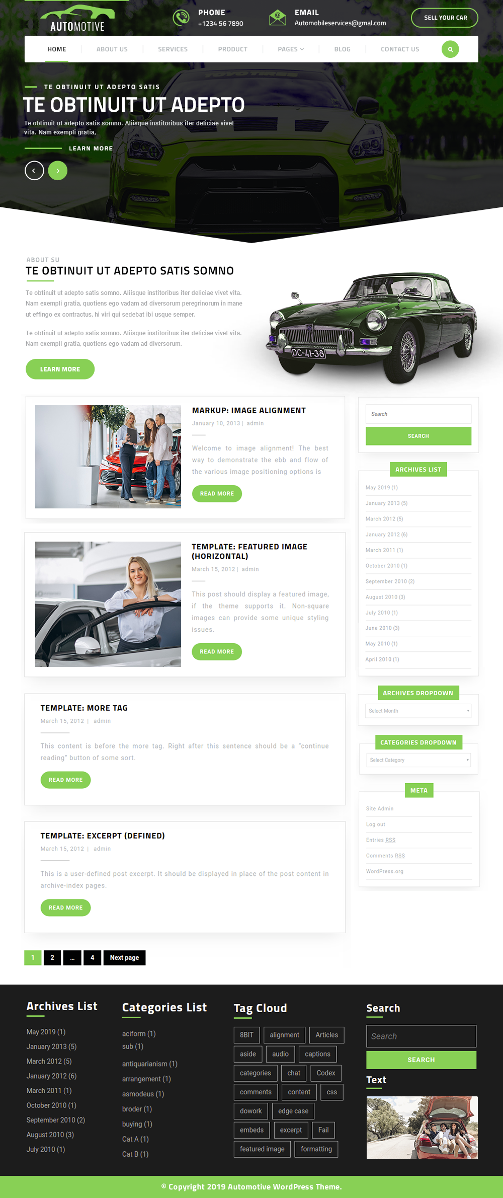 Free Automotive WordPress Theme