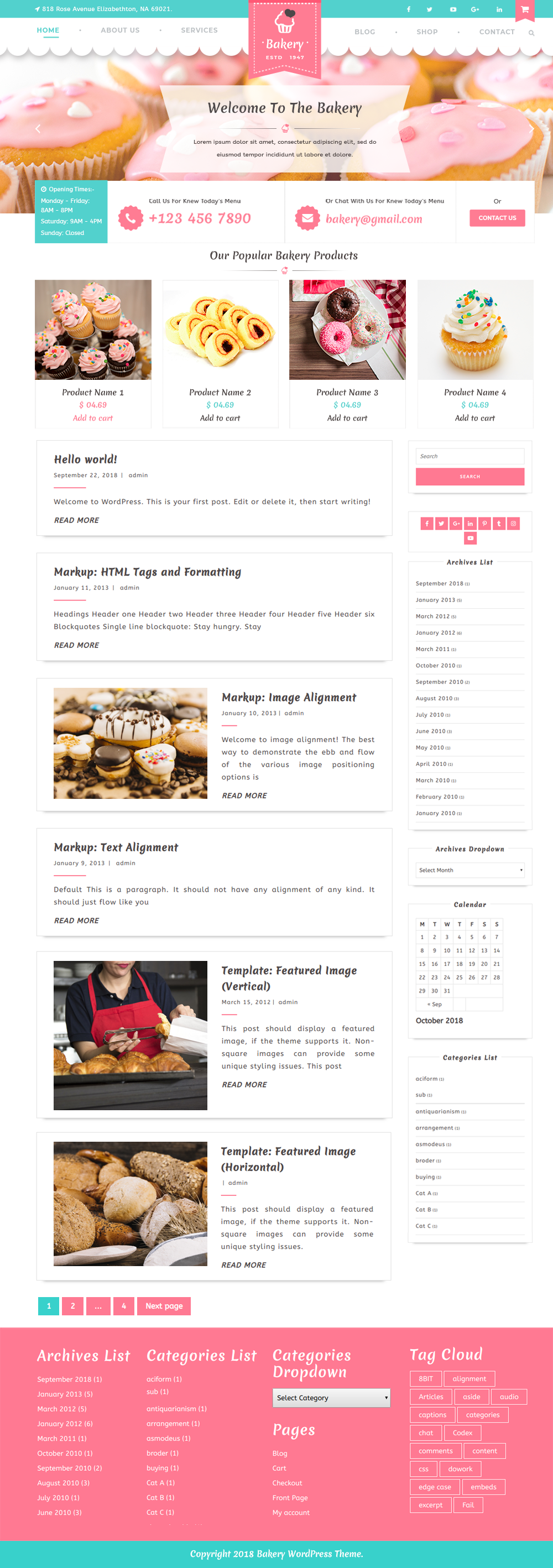 Best Responsive Free Bakery WordPress Theme for Bakery Stores