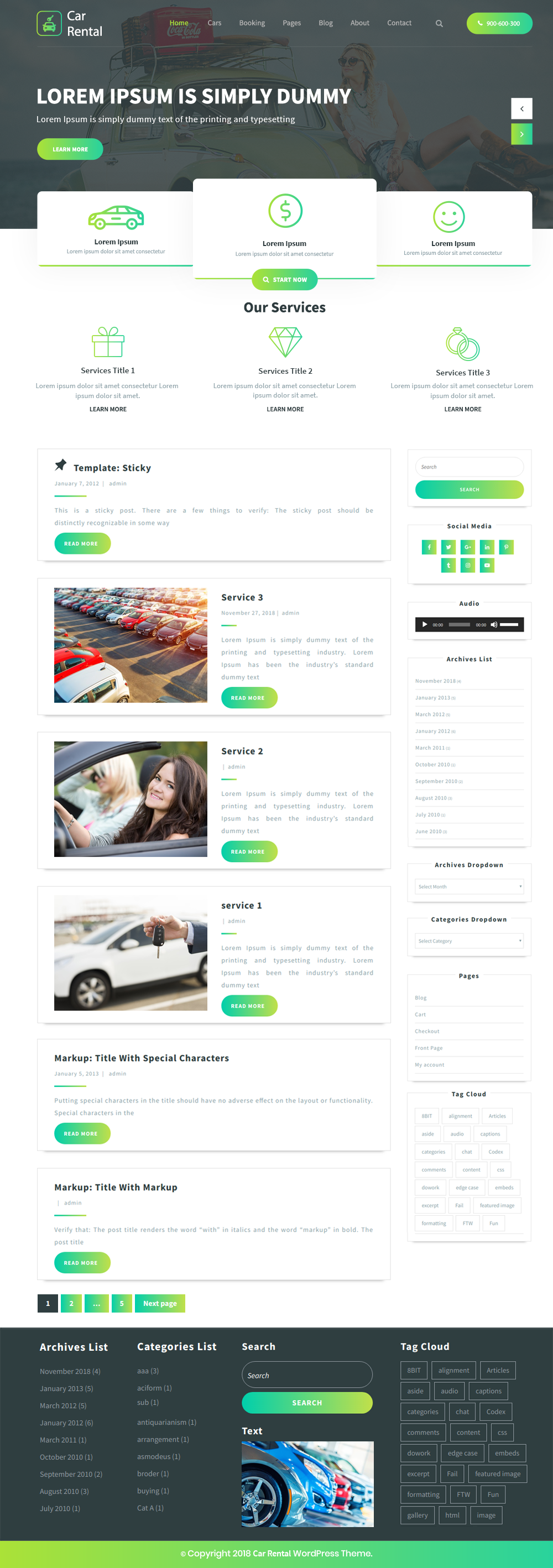 Free Car Rental WordPress Theme