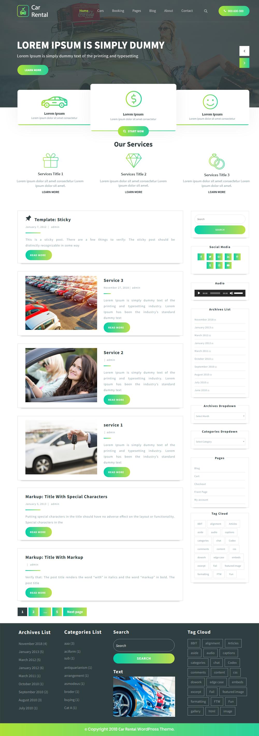 Best Free Car Rental Wordpress Theme For Car Dealers