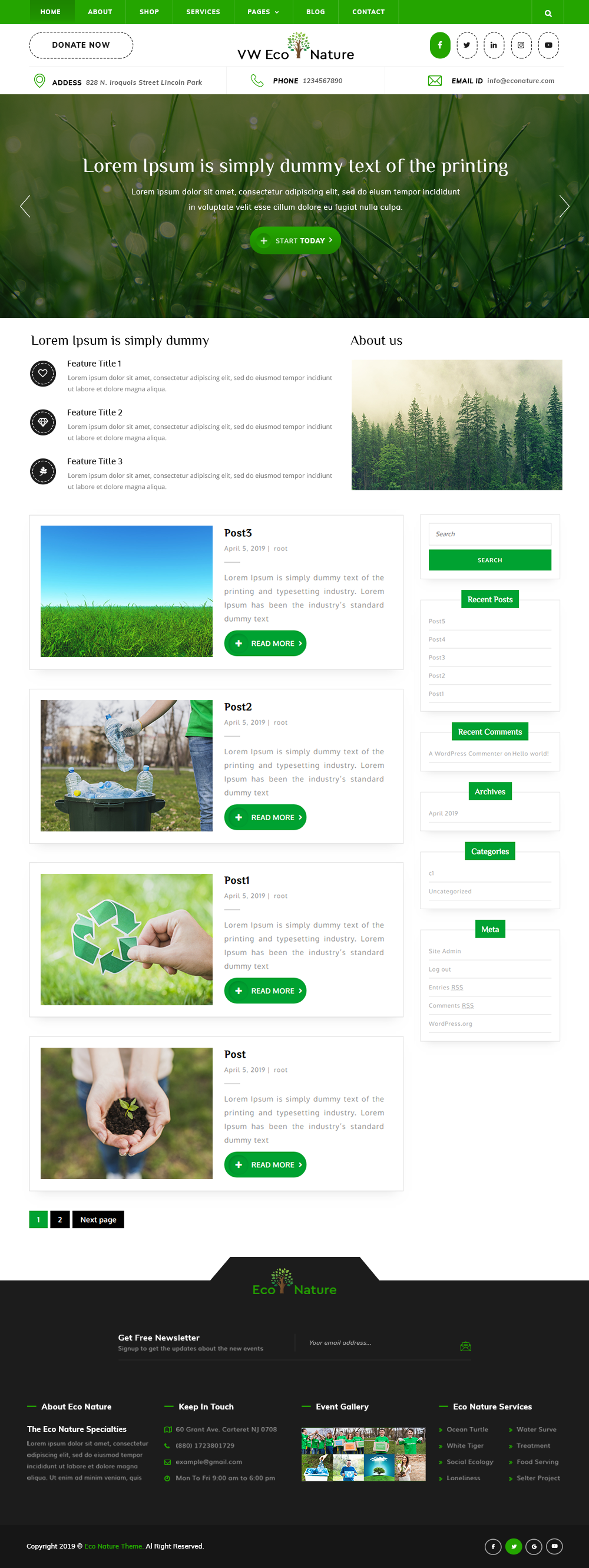 Free Eco Nature WordPress Theme