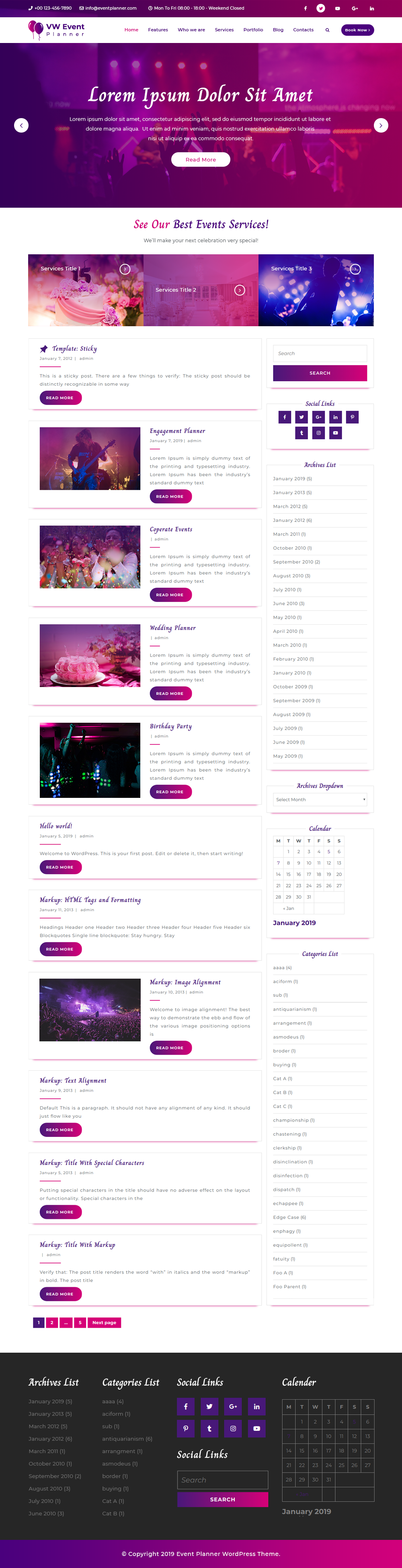 Free Event Planner WordPress Theme
