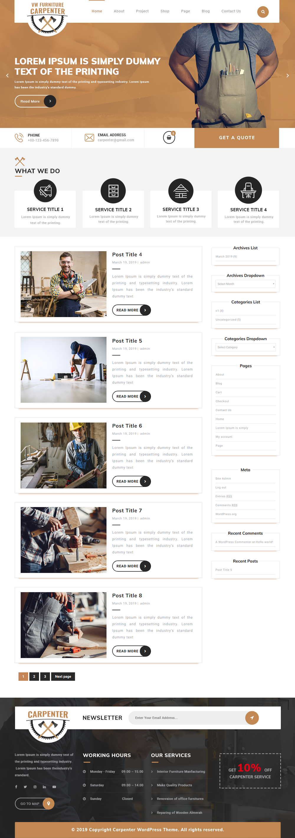 Free Furniture WordPress Theme