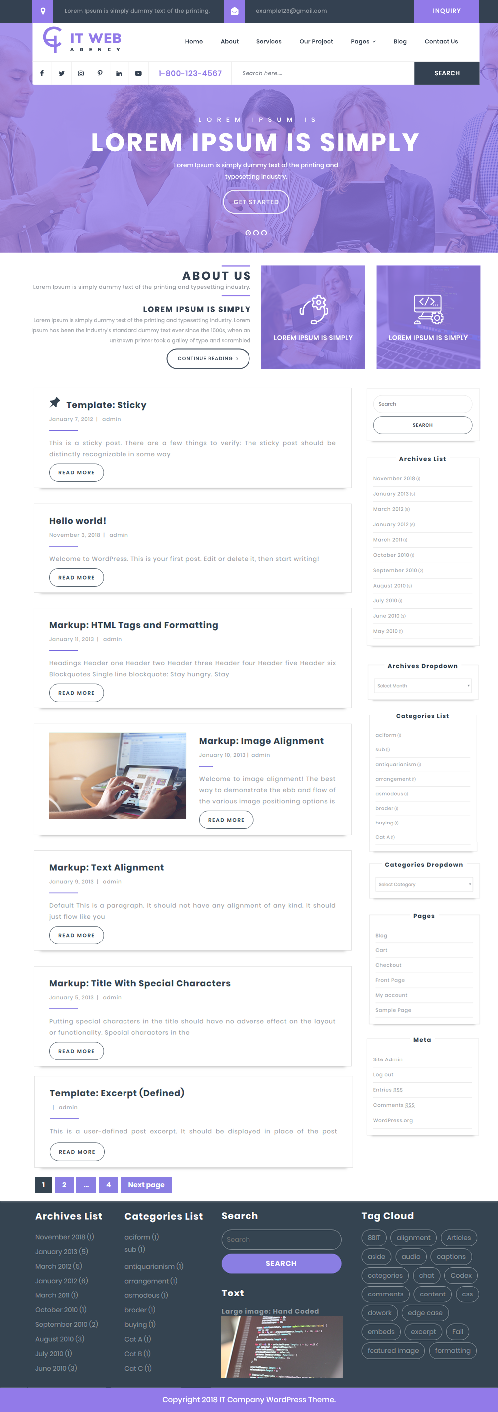Free IT Company WordPress Theme