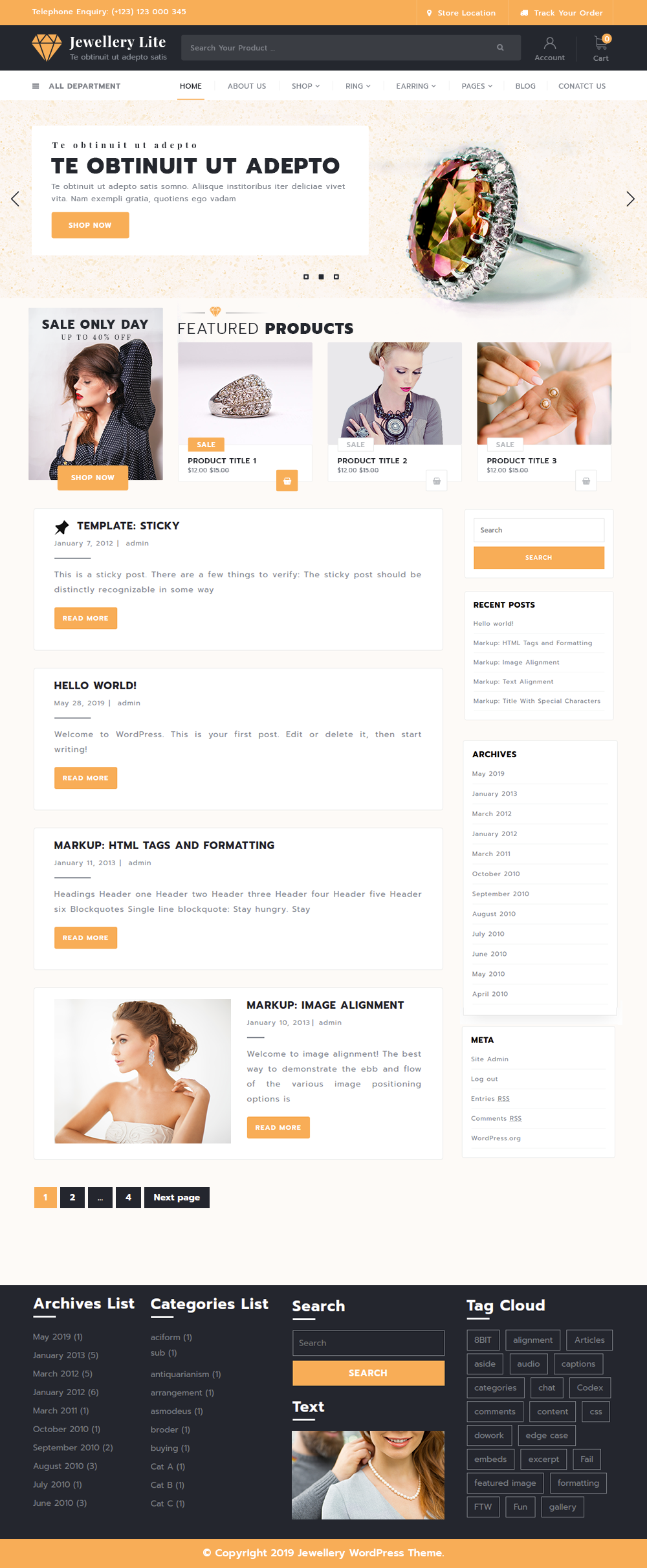 Free Jewellery WordPress Theme