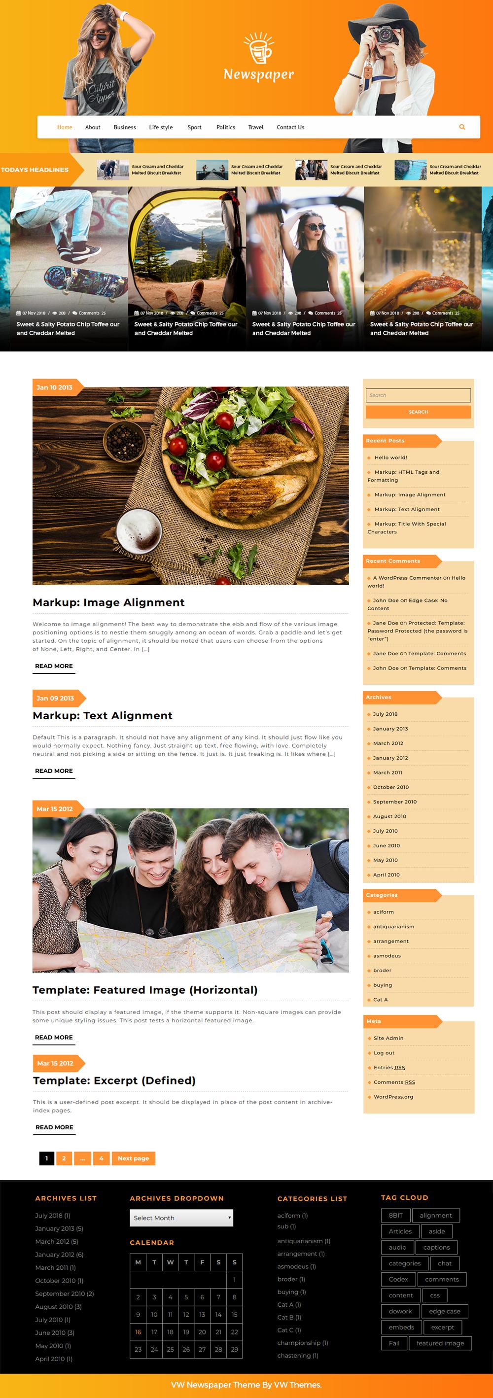 Free Newspaper WordPress Theme