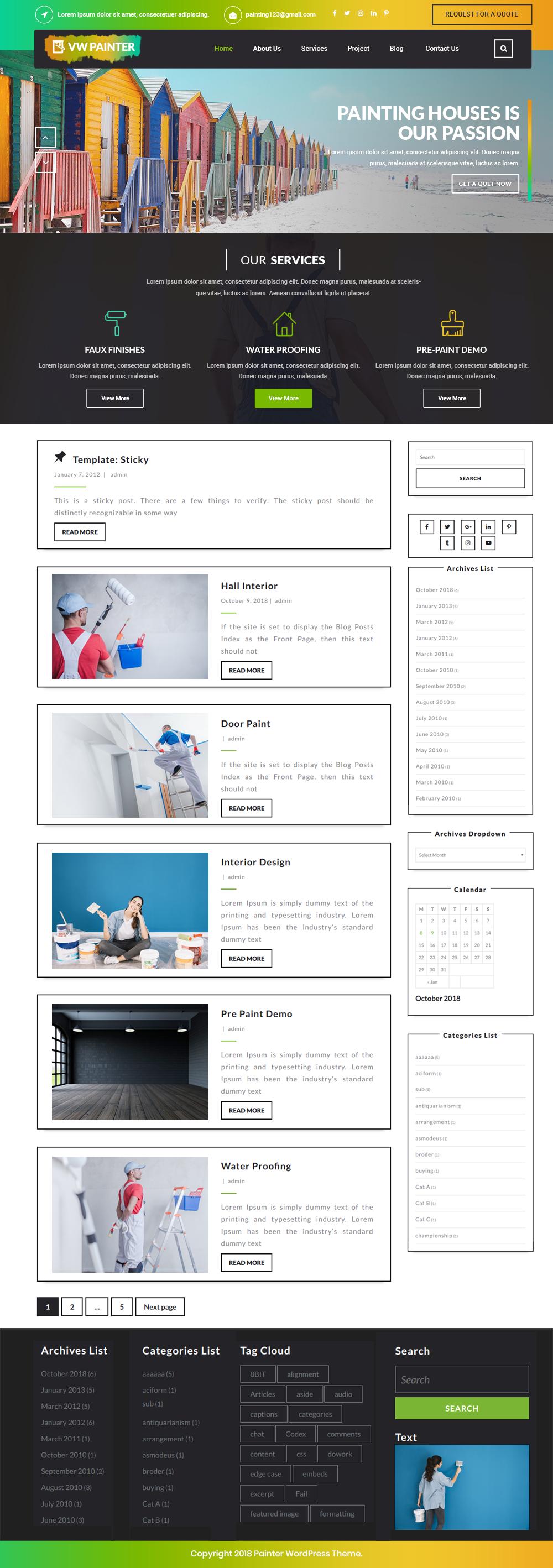 Free Painter WordPress Theme