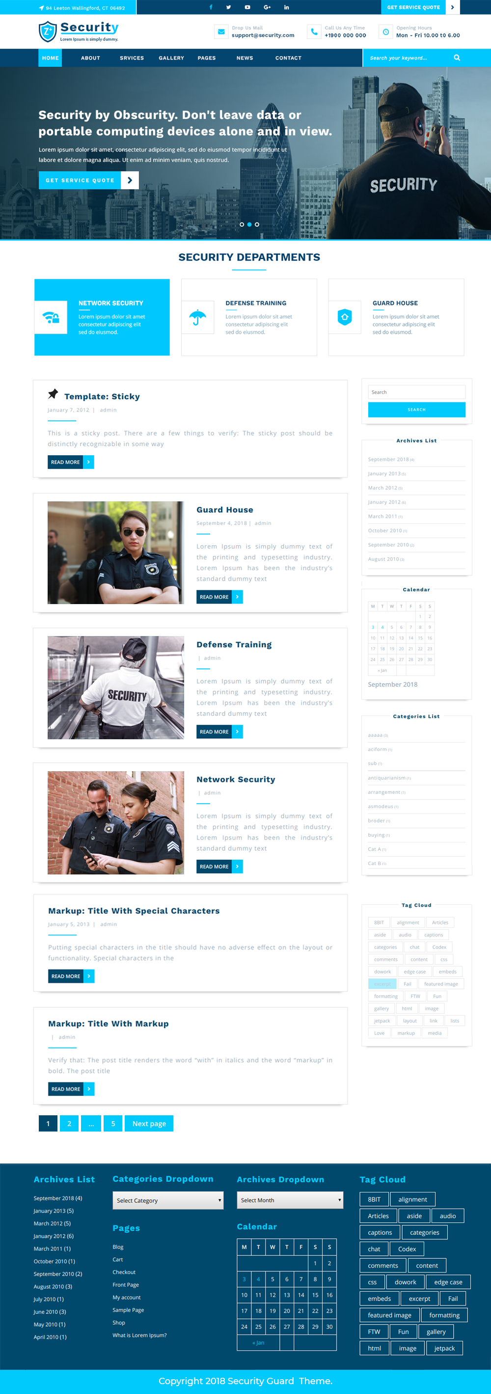 Free Security Guard WordPress Theme