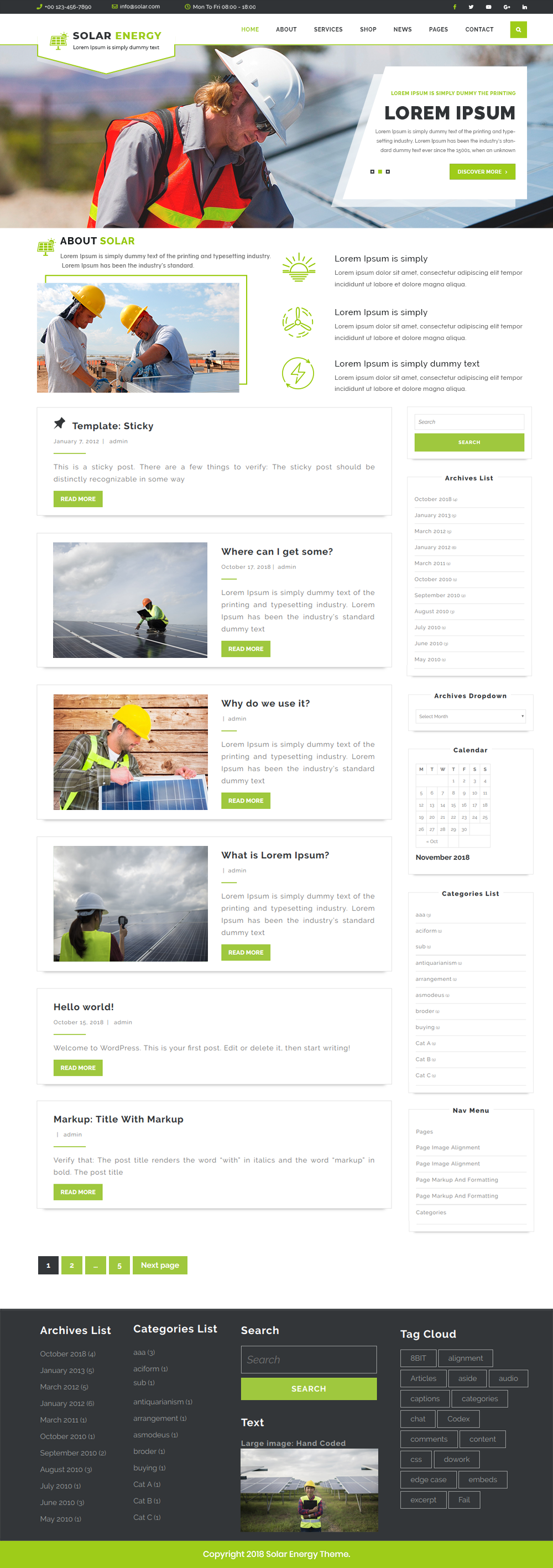 Free Solar Energy WordPress Theme