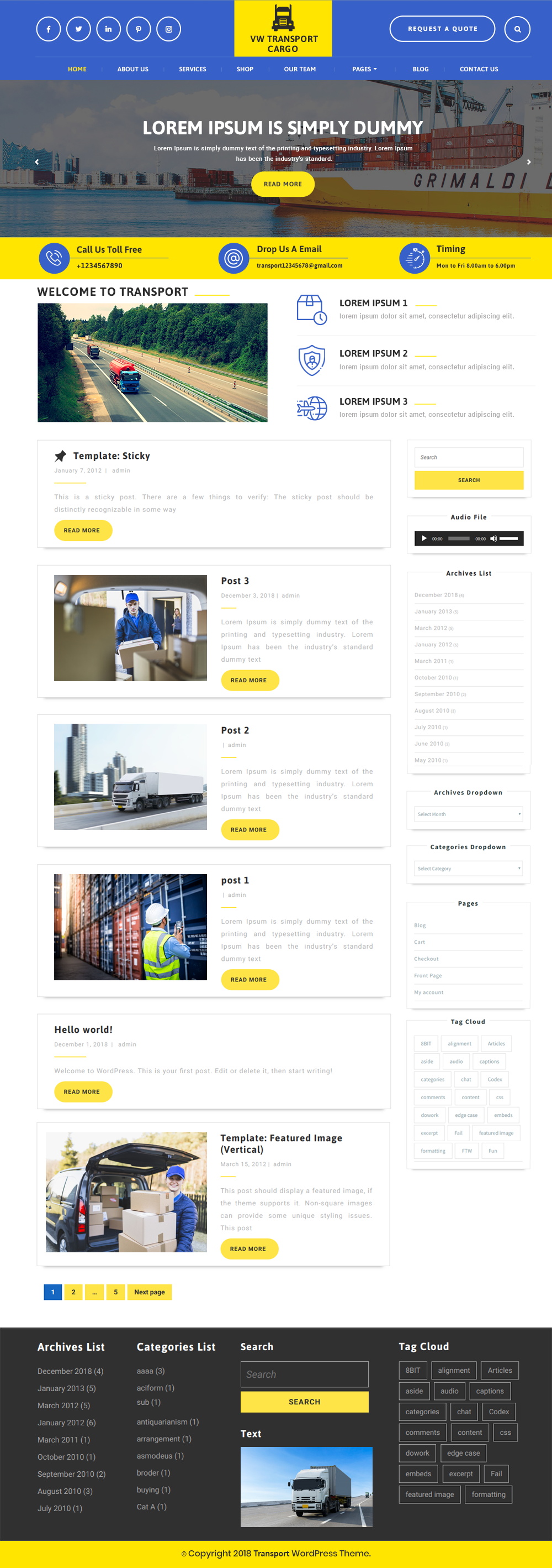 Free Transport WordPress Theme