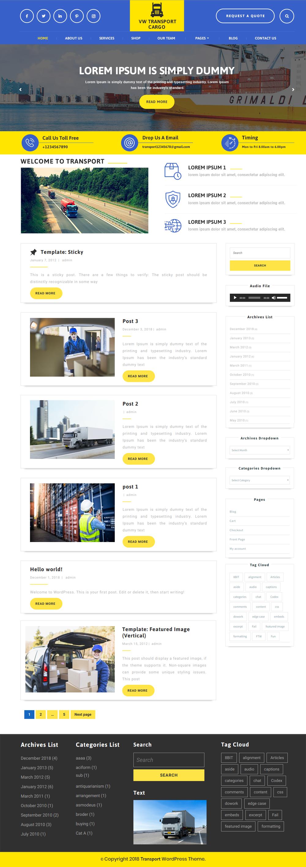 Free Transport WordPress Theme