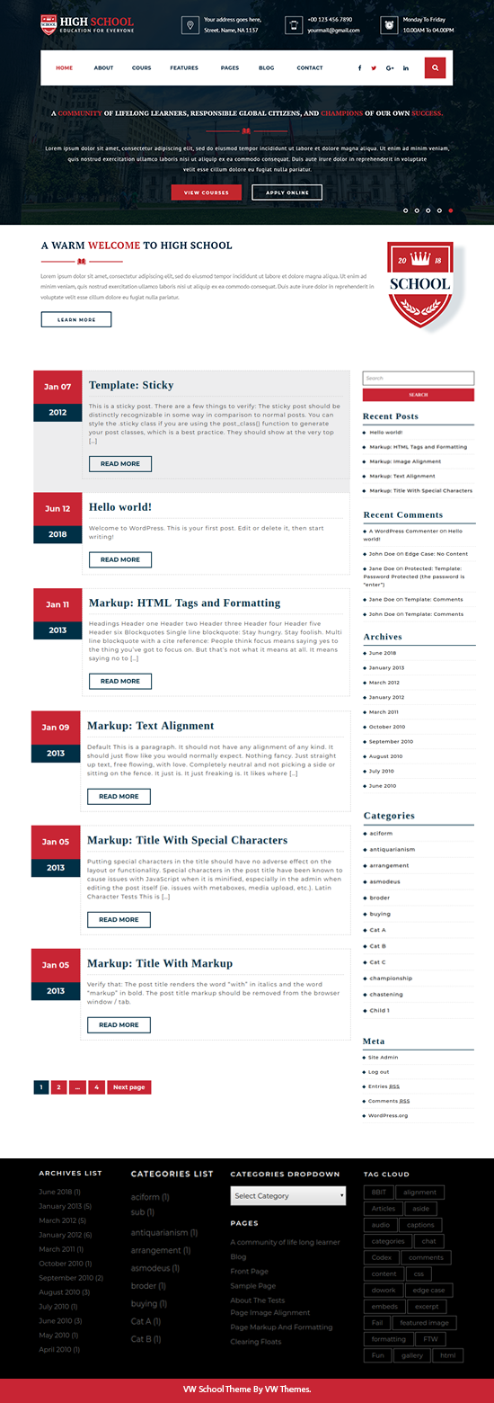 Free WordPress School Theme
