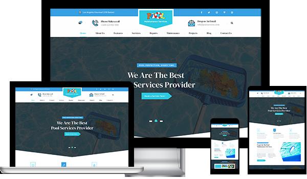 WordPress Website Theme For Swimming Pool