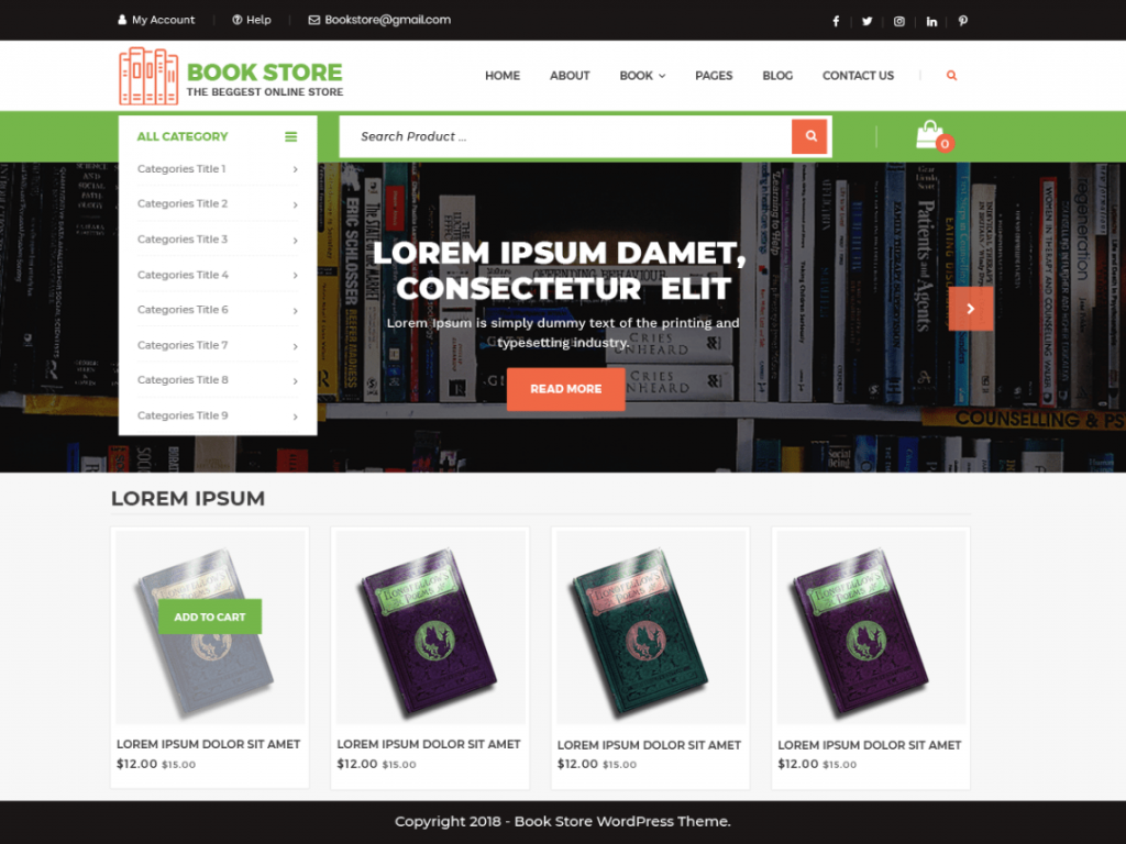 Free Bookstore WordPress Theme