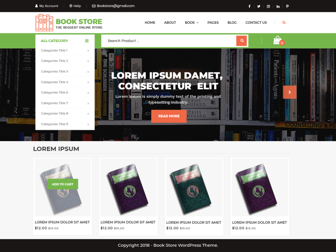 Top 20+ Ecommerce WordPress Theme For Bookstore
