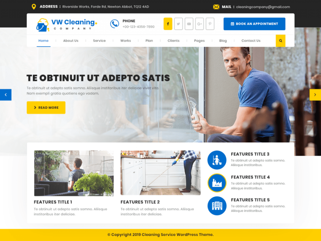 Cleaning Company Free WordPress Theme