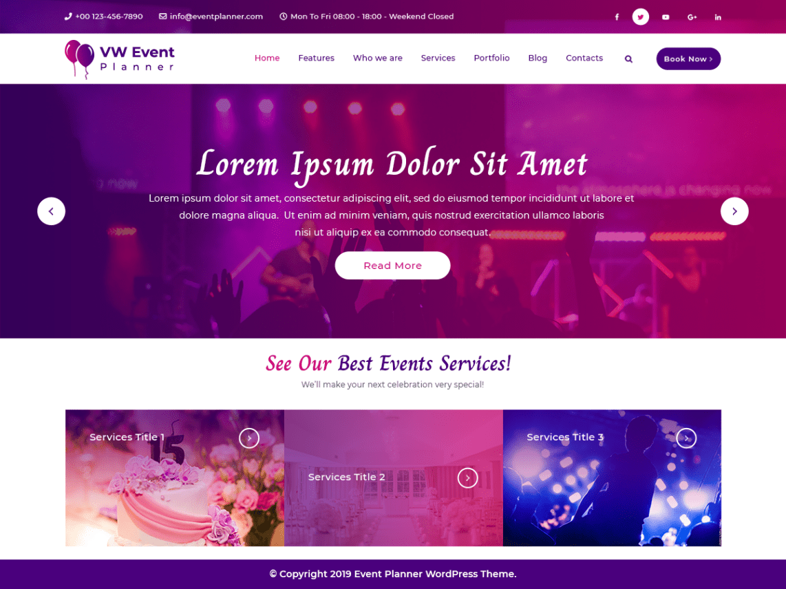 VW Event Planner Pro WordPress Website Themes