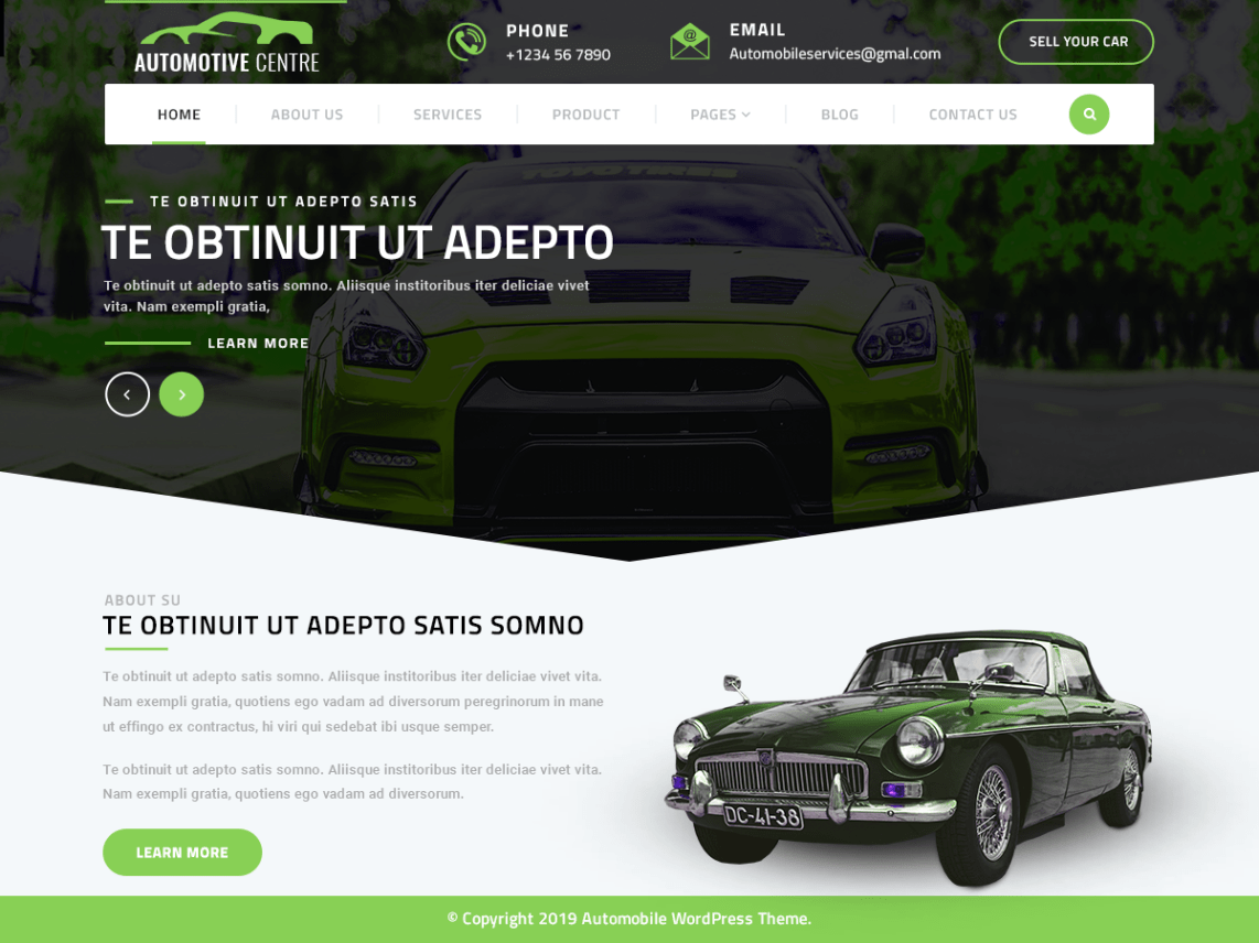 VW Automotive Pro WordPress Website Themes