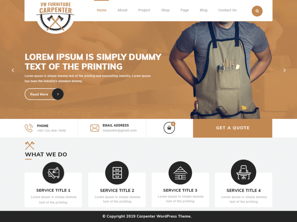 Free Furniture Carpenter WordPress Theme