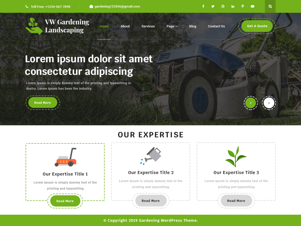 VW Gardening Landscaping Pro WordPress Website Themes