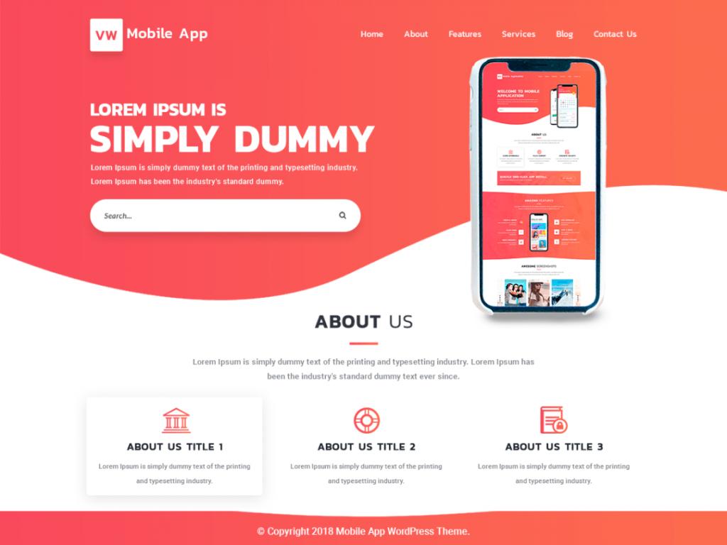 Free Mobile App WordPress Theme