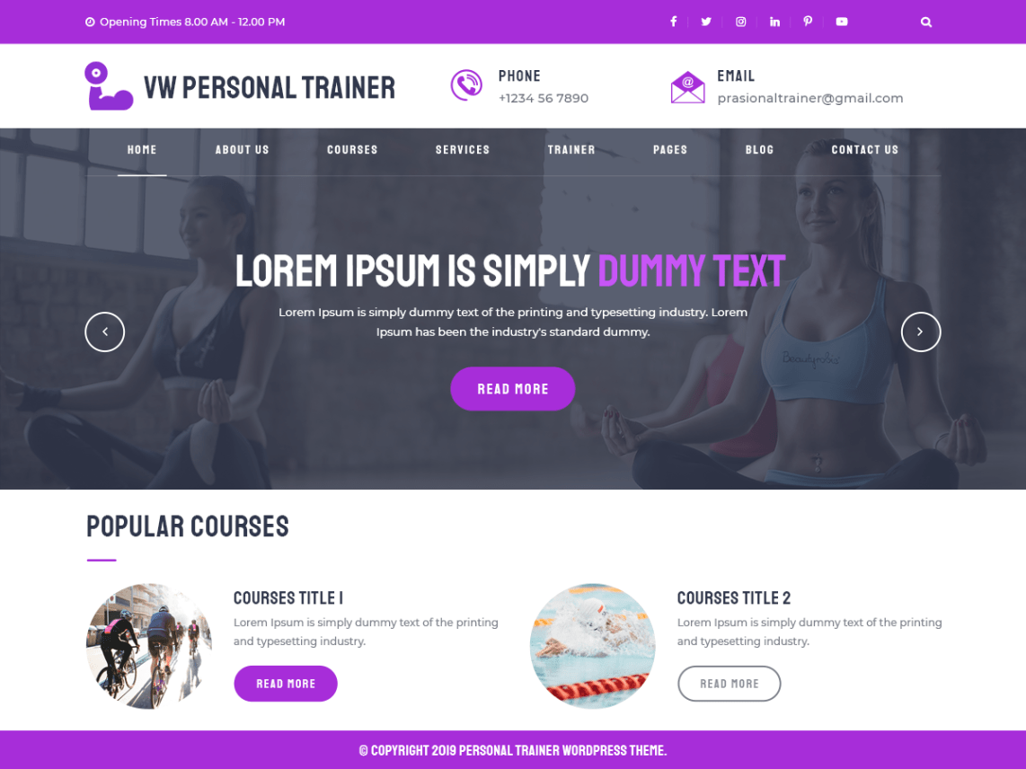 VW Personal Trainer Pro WordPress Website Themes