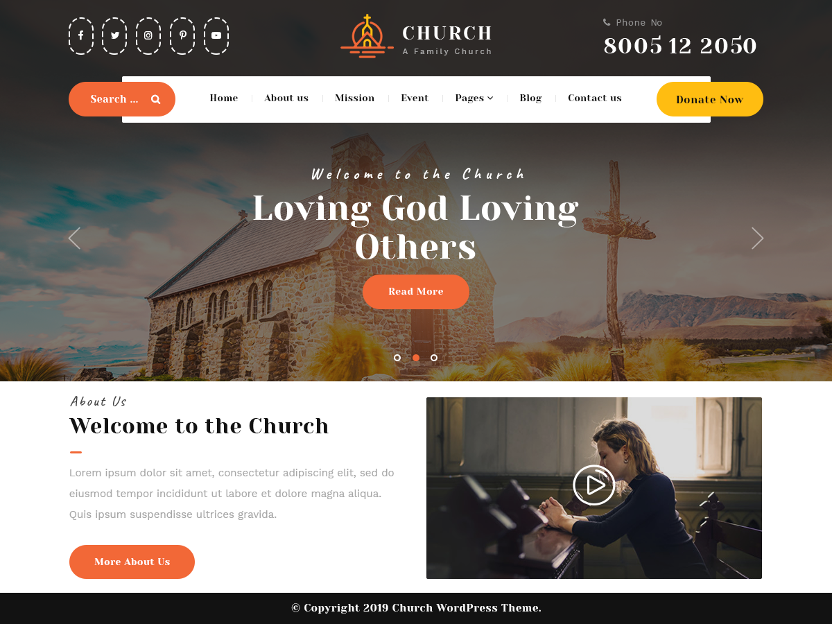 Free Church WordPress Theme