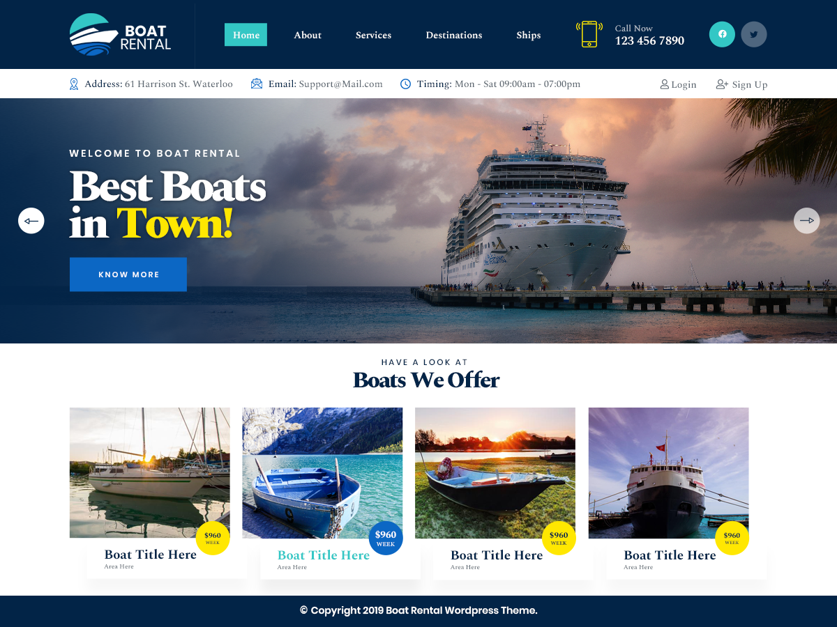 VW Boat Rental Pro WordPress Website Themes