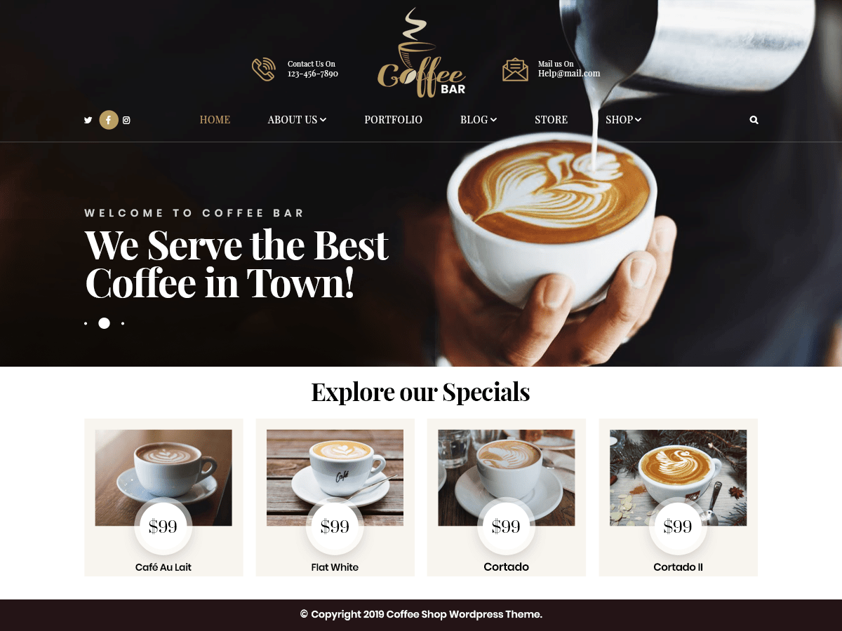 VW Cafe Pro WordPress Website Themes