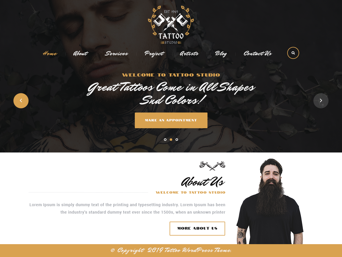 VW Tattoo Pro WordPress Website Themes