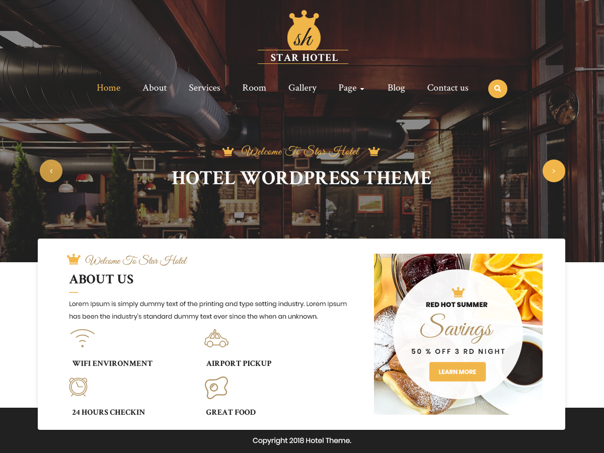 VW Hotel Pro WordPress Website Themes