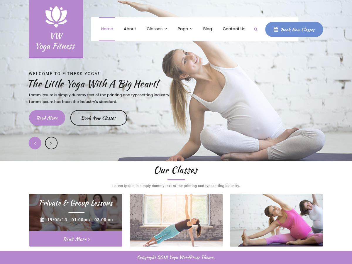 VW Yoga Fitness Pro WordPress Website Themes