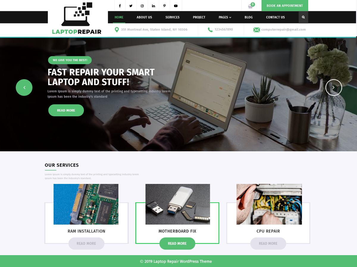 VW Laptop Repair Pro WordPress Website Themes