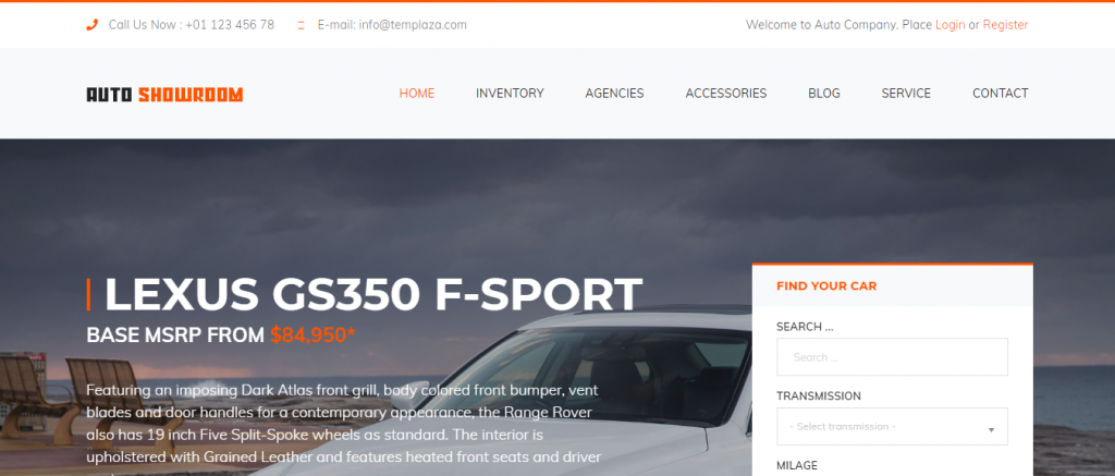 Auto Showroom WordPress Theme