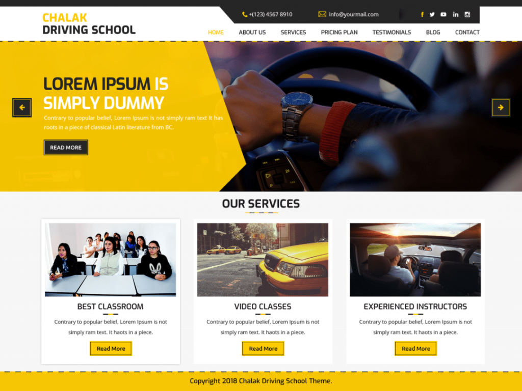 Driving School WordPress Theme