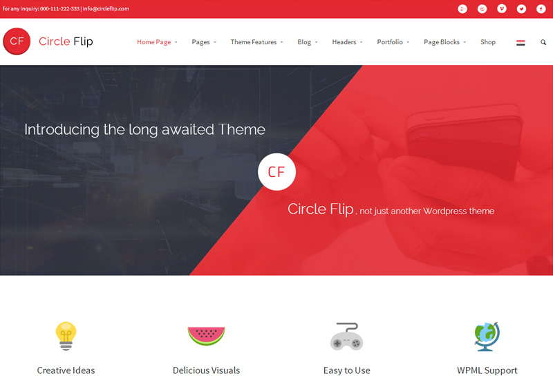 Circle flip WordPress Theme