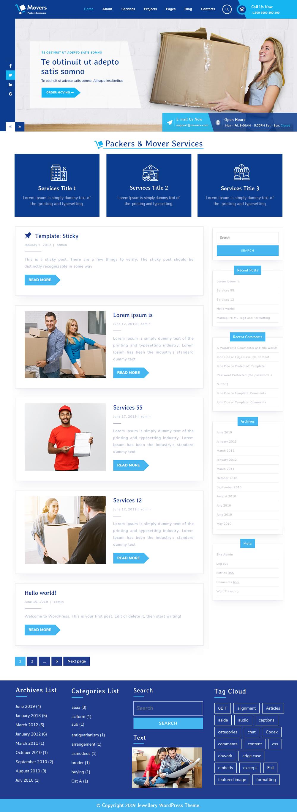 Free Moving Company Wordpress Theme For Logistics Business