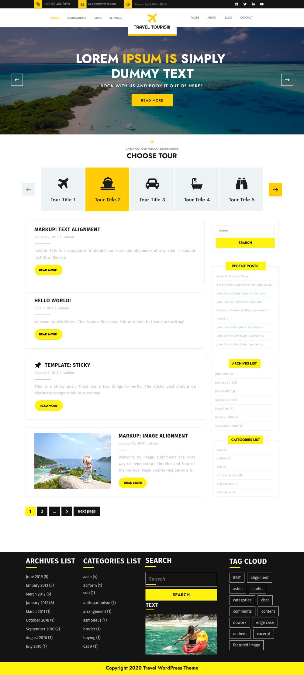 Wordpress theme agency travel Travel Agency