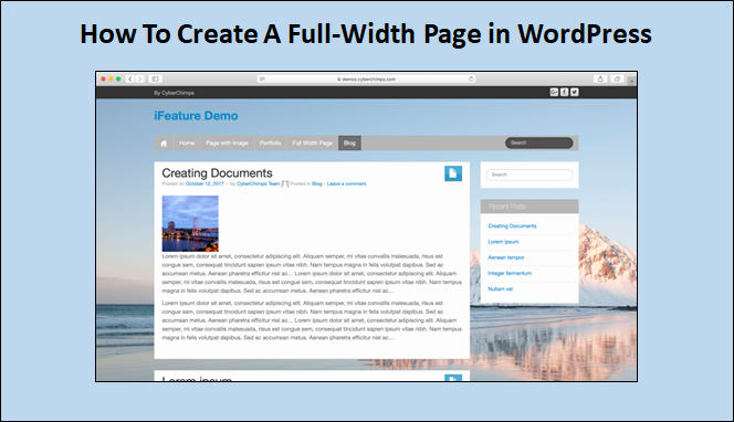 complete-width web page
